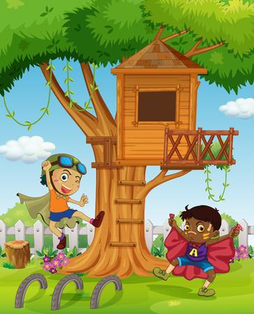 Jongens spelen in de tuin illustratie
