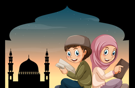 religious backgrounds: Boy and girl reading bible at mosque illustration Illustration