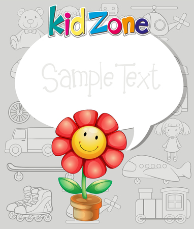 teddy bear: Border design with flower and toys illustration