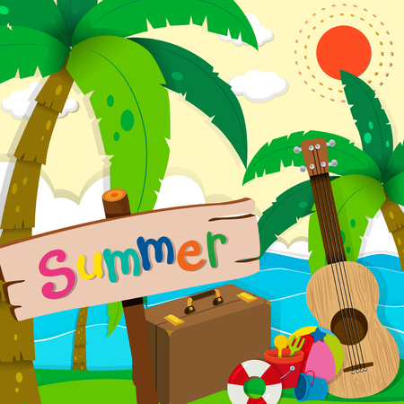 ocean view: Summer theme with ocean view illustration