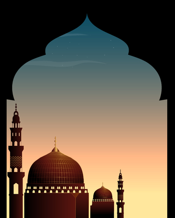 religious backgrounds: Scene with mosque at twilight illustration Illustration