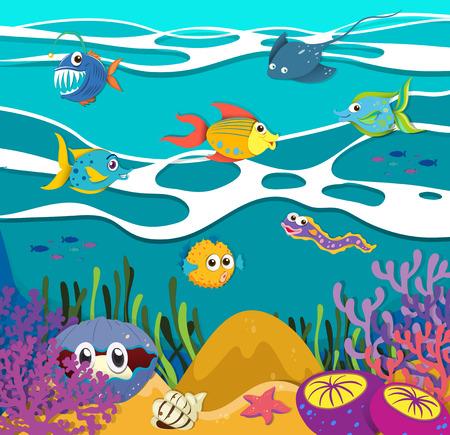 Fish and sea animals underwater illustration