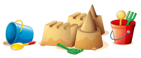 arena: Juguetes de la playa y el castillo de arena ilustración Vectores