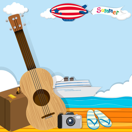 cruise travel: Summer theme with cruise and travel objects illustration