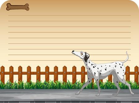 dog walking: Line paper design with dog walking illustration