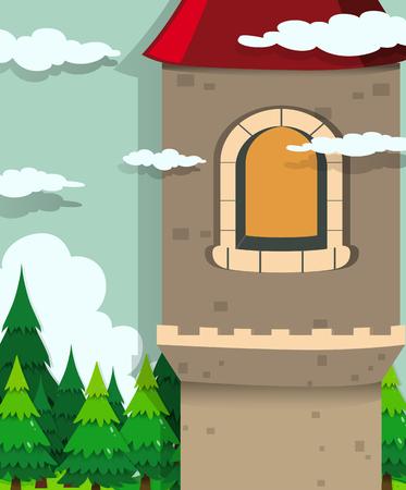 trees illustration: Castle tower and pine trees illustration