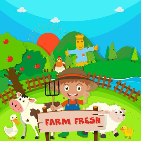 apple orchard: Farmer and farm animals on the farm illustration