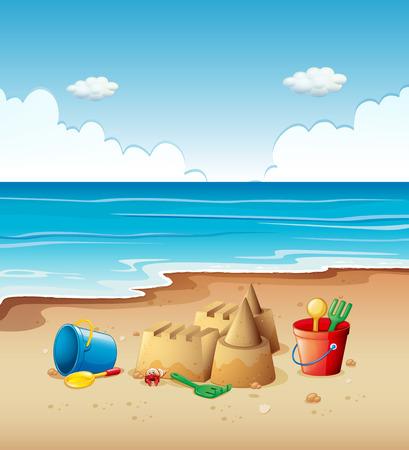 Escena del océano con los juguetes en la playa ilustración