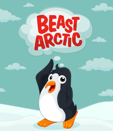 northpole: Penguin at the arctic ground illustration