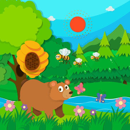tropical tree: Bear and bees in the forest illustration