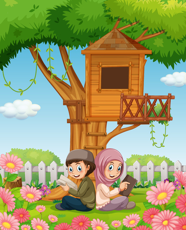 islamic scenery: Muslim couple reading books in the park illustration