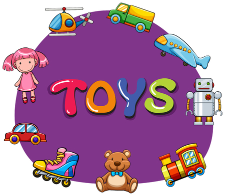 toys: Different kind of toys illustration
