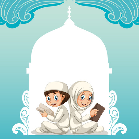 islamic scenery: Muslim couple in white costume reading books illustration Illustration