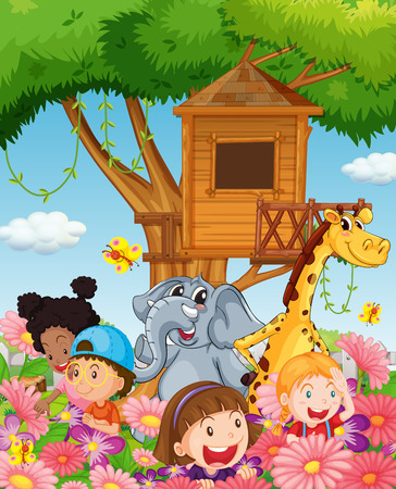 zoo youth: Children and animals in the garden illustration