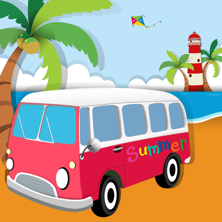roadtrip: Summer theme with van on the beach illustration Illustration