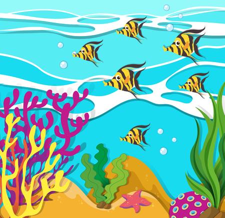 carnivorous fish: Fish swimming under the ocean illustration