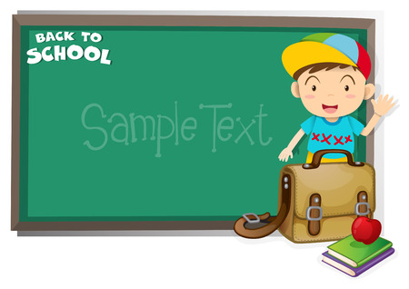 picture frame: Border design with back to school theme illustration