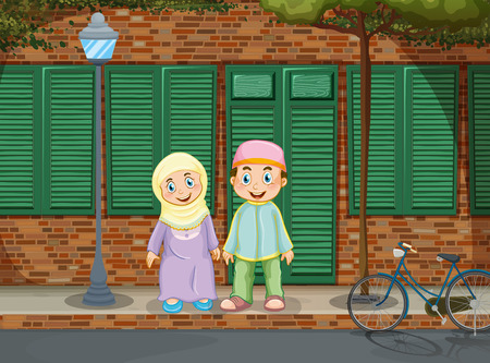 Muslim couple standing on the sidewalk illustration