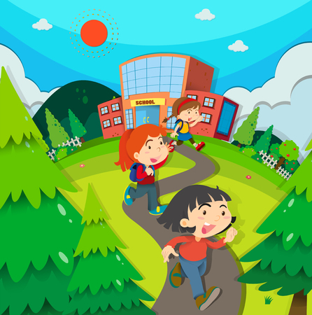 Children leaving school after classes illustration Stok Fotoğraf - 48890102