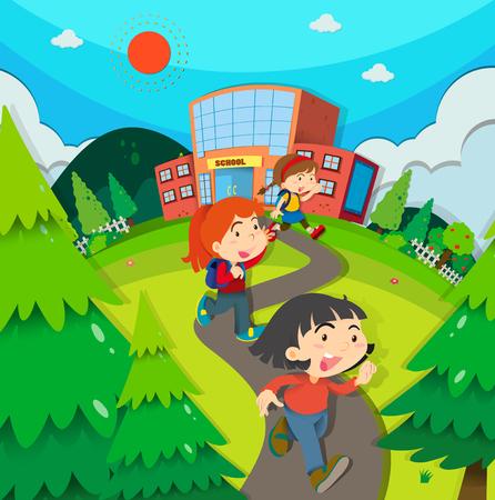Children leaving school after classes illustration