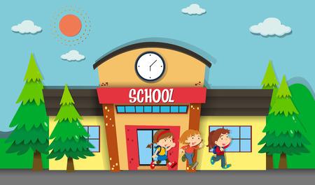 niños saliendo de la escuela: Los niños que abandonan la escuela en la ilustración de la noche Vectores