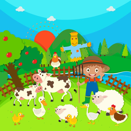 apple clipart: Farmer and farm animals illustration
