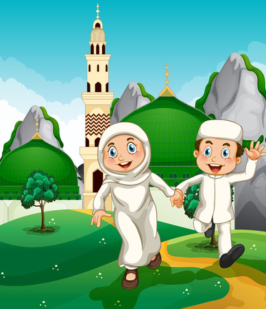 mosque illustration: Muslim couple at the mosque illustration