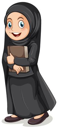 muslim: Muslim girl in black costume illustration Illustration
