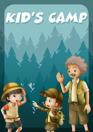 campground: Kid going camping in the forest illustration