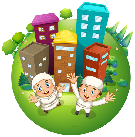tower house: Muslim couple and buildings illustration Illustration