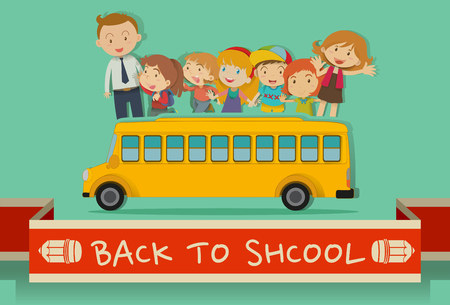 school transportation: Back to school theme with teachers and kids illustration Vectores