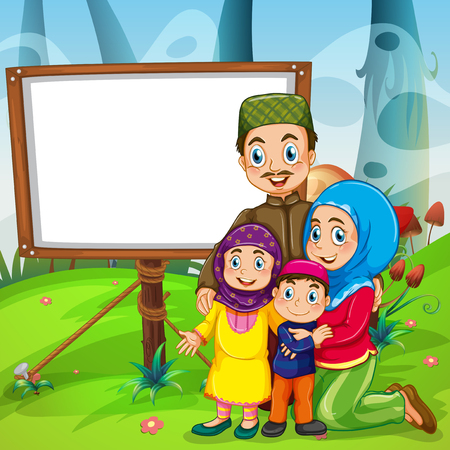 paper art: Border design with muslim family illustration