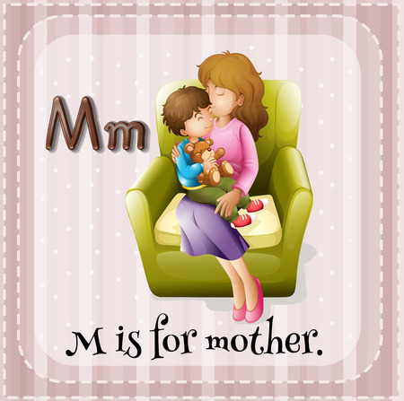 letter alphabet pictures: Flashcard alphabet M is for mother illustration