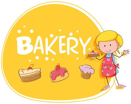 baking: Bakery theme with baker and cake illustration