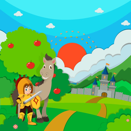 kingdom: Knight and horse on the land illustration