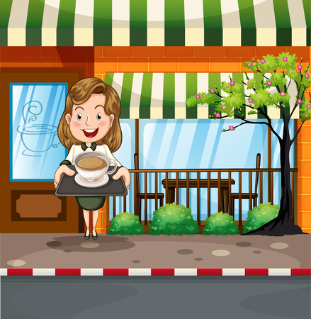 tree service pictures: Waitress serving hot coffee at the shop illustration