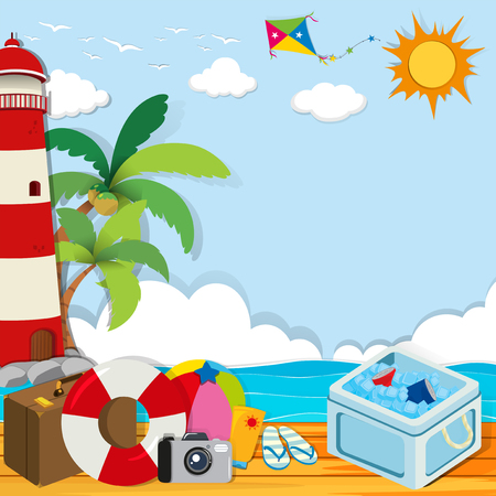 icebox: Summer theme with objects on the beach illustration