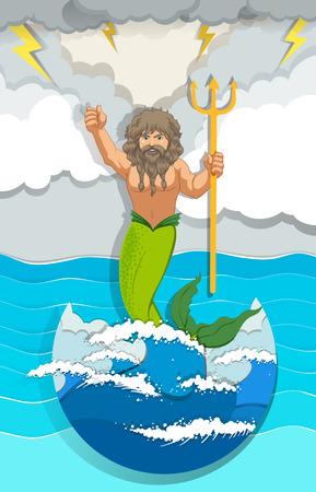 creature: Male mermaid holding trident illustration