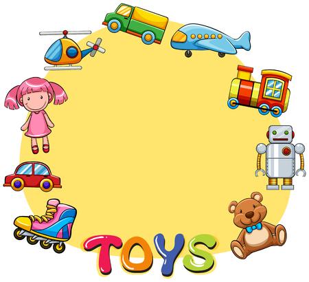roller skates: Border design with lots of toys illustration Illustration