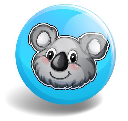 koala bear: Cute koala bear head on badge illustration