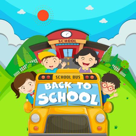 school friends: Children riding on school bus illustration Illustration