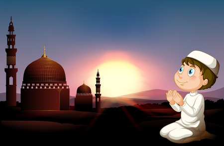 man praying: Muslim man praying at the mosque illustration