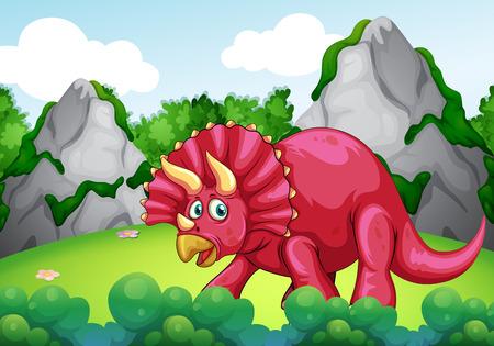 dinosaur clipart: Red dinosaur in the park illustration