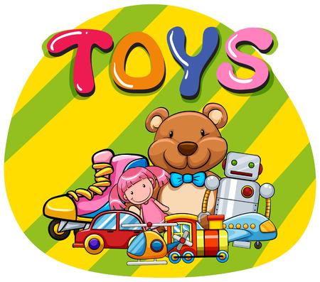 carritos de juguete: Diferentes tipos de ilustración juguetes Vectores