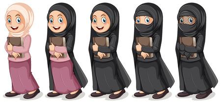 挿絵を保持しているイスラム教徒の少女
