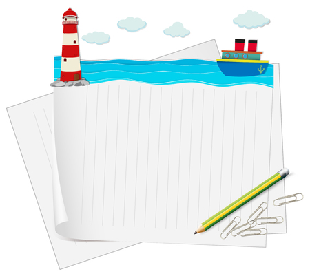 ocean view: Paper design with ocean view illustration