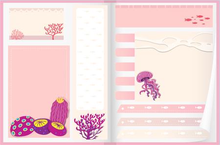 papel de notas: Diseño de papel con la ilustración de los arrecifes de coral