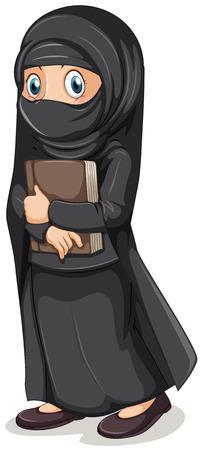 jilbab: Muslim girl in black costume holding book illustration