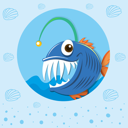sea monster: Sea monster under the sea illustration Illustration