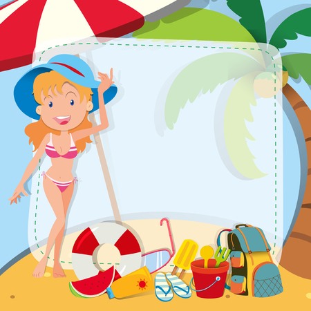 sandles: Border design with girl in bikini illustration